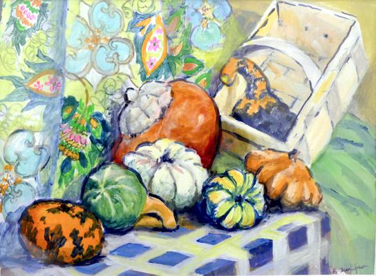 'Autumn Harvest of Gourds' by Brenda Thompson - Acrylic.