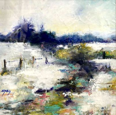 'Quinbury with Snow' by Sandra Edney-Lynch - Oil and pastel.