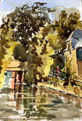 'River Lea, Bircherley Green' by Ray Ward - Watercolour.