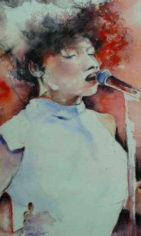 Later live with Jules - Watercolour - 57cms x 47cms