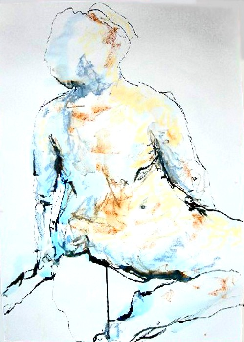 Female nude, leaning - Pastel & Ink - 40 x 60cm