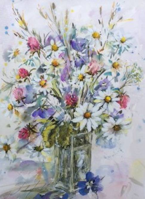 Marguerites, Clover & Meadowcranesbill in glass jar - Watercolour - 34 x 44cm