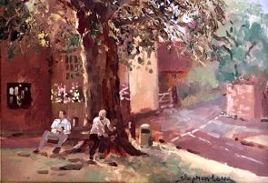 Billy and Friend at Westmill by Stephen Lowe - Oil